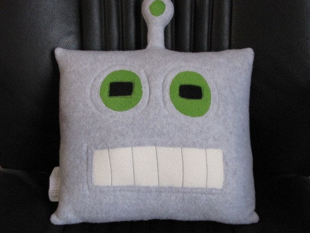 Robot Pillow Good and Evil Geek Chic Home Decor by freakyfleece