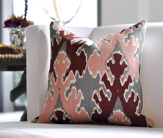 "20""sq. BENGAL BAZAAR pillow cover in Graphite Rose"