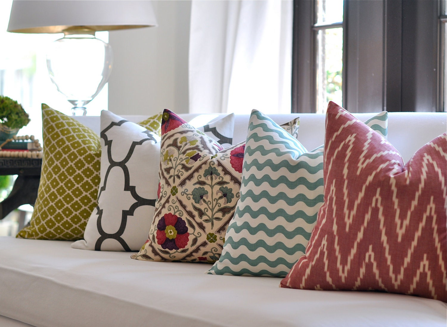 Mixed-print pillows