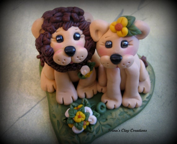 Lion Wedding Cake Topper Polymer Clay