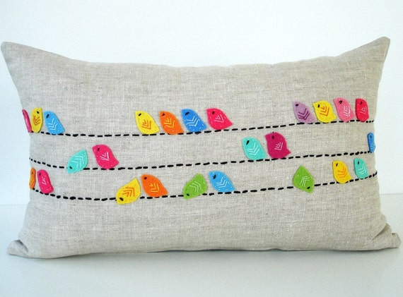 Sukan / Color Birds  RAW Linen Pillow Cover - 12x20 inch