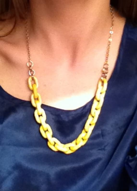 Mustard Yellow and Gold Statement Necklace by ClaireFlair