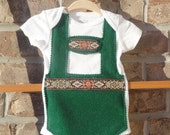 Traditional green baby lederhosen onesie