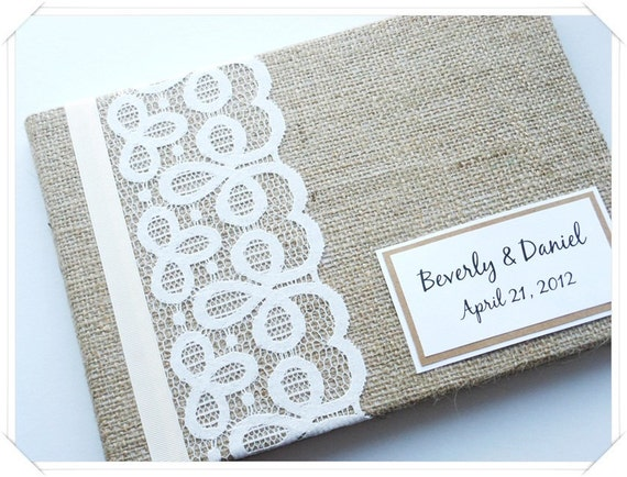 Rustic Barn Burlap Wedding Guest Book (Made to Order)
