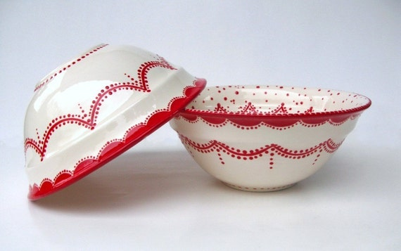 Red and White For Me and You Set Of Bowls......Taking Orders
