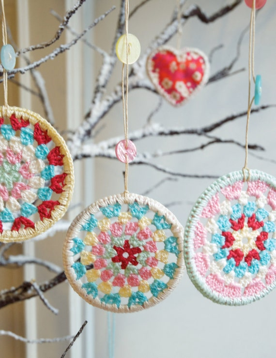 Three Crocheted Granny Circle Decorations - Crocheted Decorations