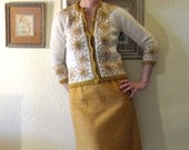 Vintage 60s Cardigan Sweater Embroidered Harvest Gold Autumn Flowers - ChatteJolie