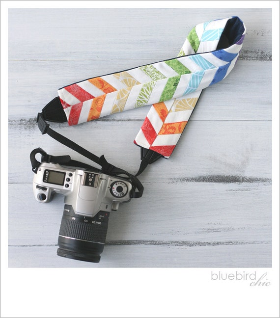 rainbow chevron camera strap cover