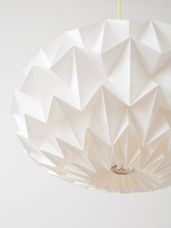 RESERVED CHRIS Signature white paper origami lampshade - size XL - hanging