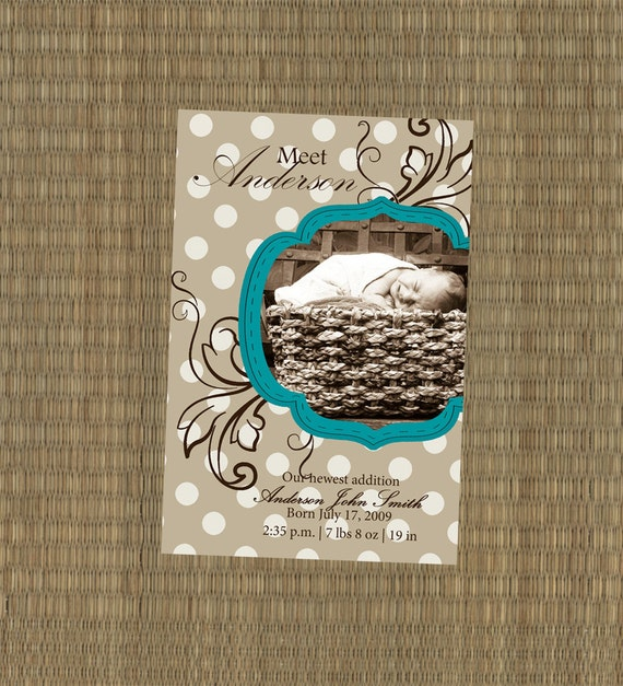 Turquoise and Polkadots Birth Announcement