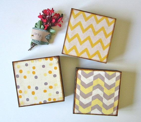 Art Block Trio/3/Three 5x5  Mix and Match FREE SHIPPING choose any 3 geometric pattern chevron zig zag yellow gray red tile studio