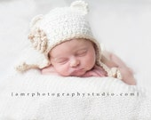 Newborn Organic Cotton Baby Hat with flower-Cream, Beige Earflap Beanie. Bear ears.