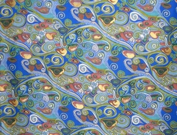 Blue Klimt-style Cotton Print Fabric by Terri Mangat--One Yard
