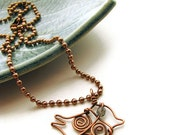 Wire Bird Necklace with Czech Glass and Antique Copper -Swirly Birdie - heversonart