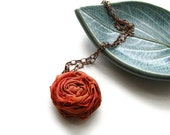 Single Silk Rosette Necklace in Orange and Copper Chain, Shabby Chic - Romantic Rosette - heversonart