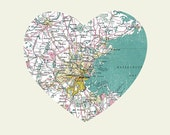 Boston Art City Heart Map - 8x10 Art Print - LuciusArt