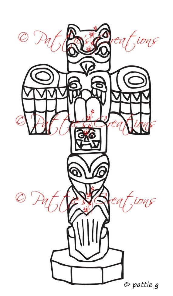 Totem Pole Drawing Totem Pole Drawing