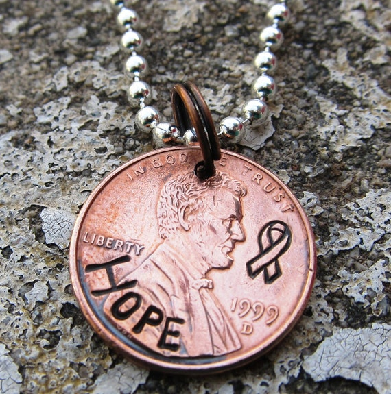 Cancer Awareness Ribbon HOPE - Hand Stamped Penny (choice of keychain, necklace or cell charm) -Made to Order-