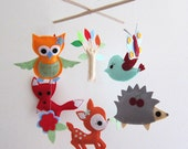 "Baby Crib Mobile - Baby Mobile - Felt Mobile - Nursery mobile - "" Woodland deer, fox, owl ,bird, hedgehog"" design (Custom Color Available) - lovelyfriend"