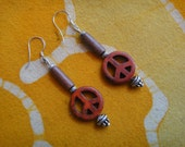 Red Peace Sign Beaded Earrings