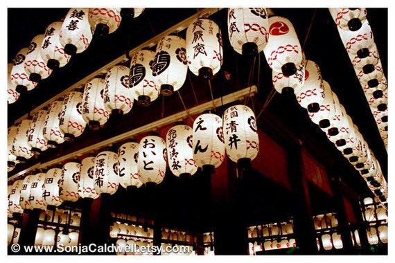 Japanese Paper Lanterns, Kyoto, Temple, night ...