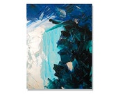 HANGiNG LAKE original abstract modern painting - gallery fine art - contemporary interior design - ooak home wall decor - teal blue - linneaheideart