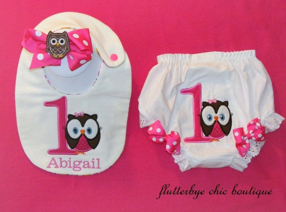 Owl Birthday Bib, bloomers diaper cover and matching bow set