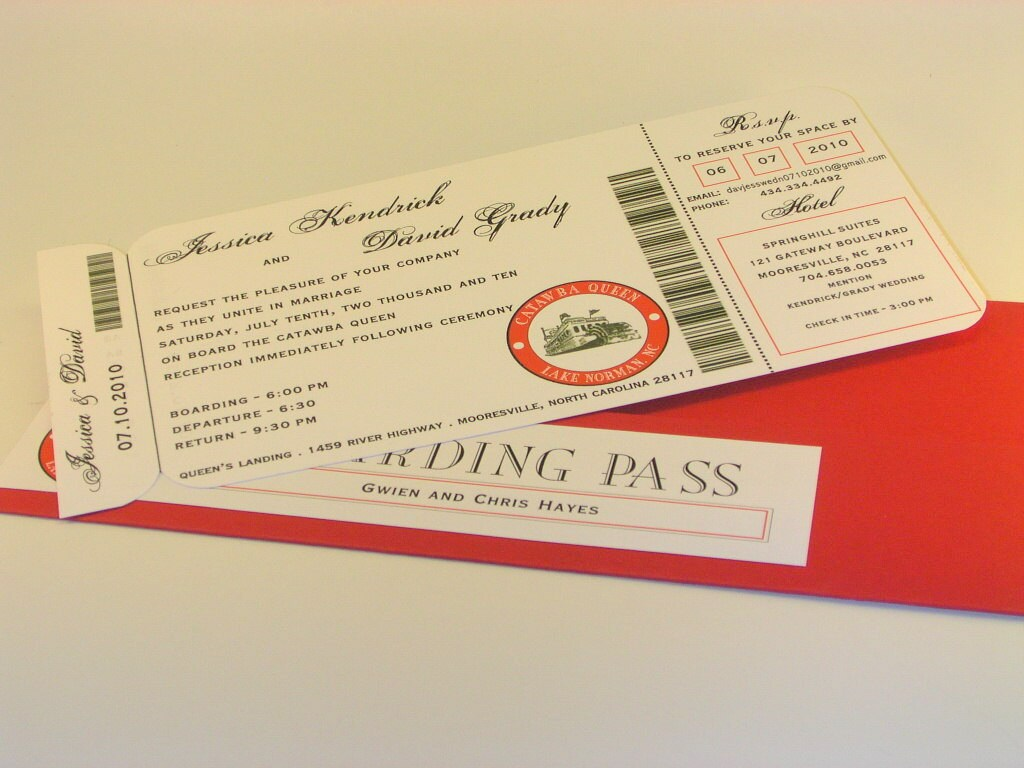 Wedding Tickets Invitations: Custom Ticket Invitation With Boarding Pass Folder By