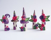 Miniature tropical fairy village in pretty purple, orange and pink colours handmade from polymer clay - fizzyclaret