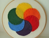 Embroidery Hoop Art with Felt Color Wheel Circles