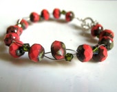 Coral Color Czech Glass - Wire Wrapped Bracelet