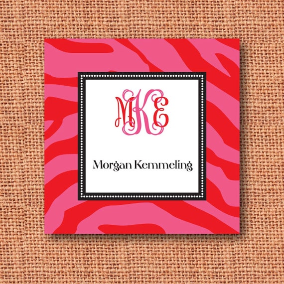 zebra calling card, gift tag, gift enclosure card monogrammed or personalized