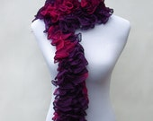 Knit frilly scarf ruffle flamenco cancan burlesque scarf in rich purple and burgundy berry reds