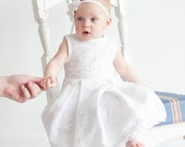 White linen  girl dress with lace for Christening - Flower girl dress - sizes 0.5-5 years - lefthandedcraftclub