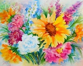 Watercolor of Colorful Flower Bouquet, Sunflower by Colorado Artist Martha Kisling - MarthaKislingArt