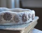 Felt Headband Hand Embroidered Ivory Felt with Mauve and Dove Grey Embroidery by lovemaude - lovemaude