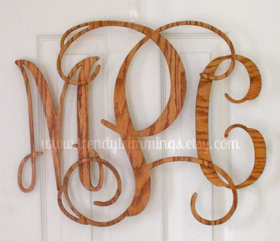 "16"" Wooden Monogram- Interlocking"