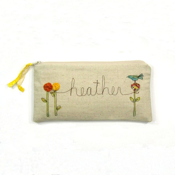customized with your name, personalized gift, for her, clutch pouch, natural, fashion, MADE TO ORDER