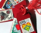 Vintage Love Stamp Tags - RED