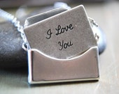 Silver Envelope Necklace Removable I Love You Letter - paperfacestudio
