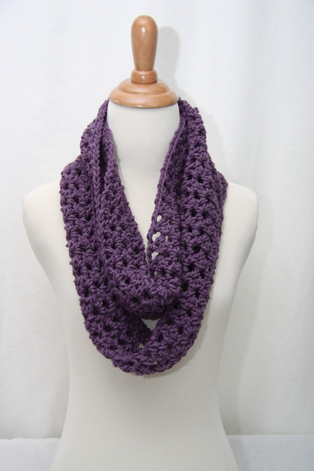 Crocheted Dark Purple Infinity Cowl Neck Scarf by HandmadeByLarrie Cowl Neck Scarves Crochet