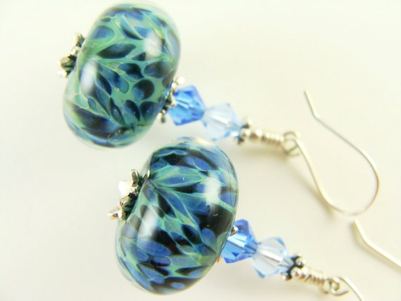 Blue Green Boro Glass Lampwork Earrings, Black Green Blue Glass Bead Earrings, Periwinkle Boro Glass Earrings - Spotted Green