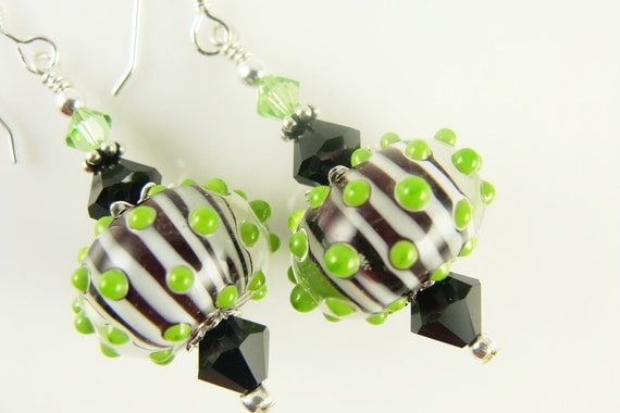 Black White Earrings, Green Dangle Earrings, Glass Bead Earrings, Lime Lampwork Earrings, Lampwork Jewelry, Green Earrings