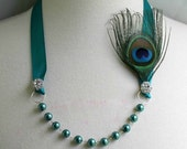 Bridal Jewelry Necklace  - Pearl Ribbon Necklace - Teal Necklace - Peacock Feather - Bridesmaids Gifts - Many Colors - peaceandglorydetails