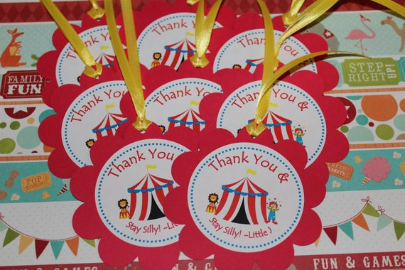 Personlaized Circus Large Favor Tags-Set of 12
