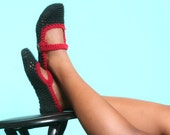Mary Jane Slippers in Black with Dark Red Trim