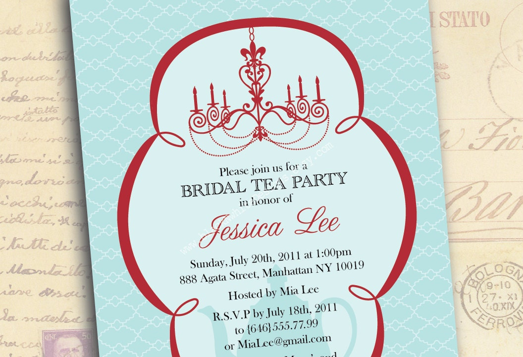 bridal tea party invitation wording