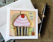Cupcake Card: Nom nom Cupcake Card 4.25 x 4.25 blank greeting card, note card, notecard, Mixed Media, Whimsical cake art, pink, peach, brown - JCSpock