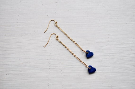 blue valentine -drop earrings (blue ceramic heart charm and vintage gold chain)