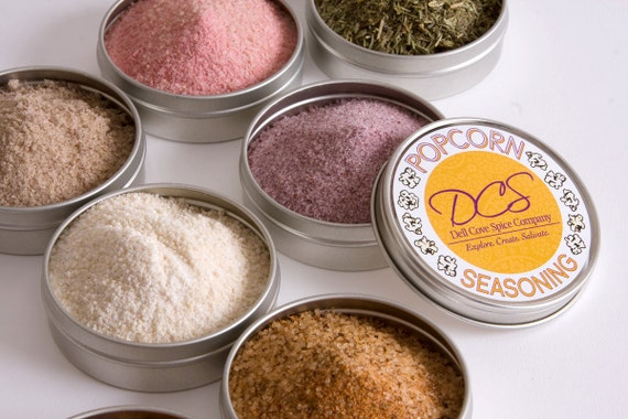 Popcorn seasoning - flavored popcorn spice sampler - gourmet salts for your popped corn kernels - 8 tins in a gift box